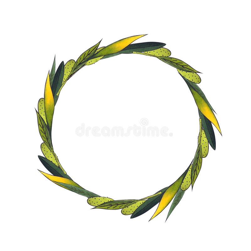Wreath of dried herbs. Hand drawn illustration on white background. Drawing markers royalty free illustration