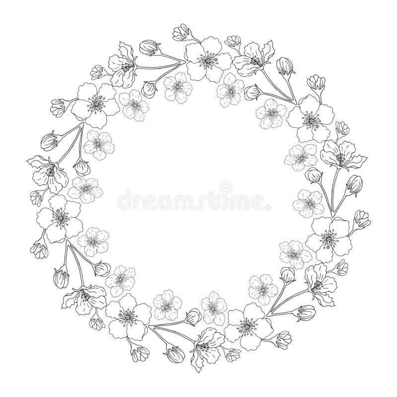 A wreath of flowers of apple stock illustration