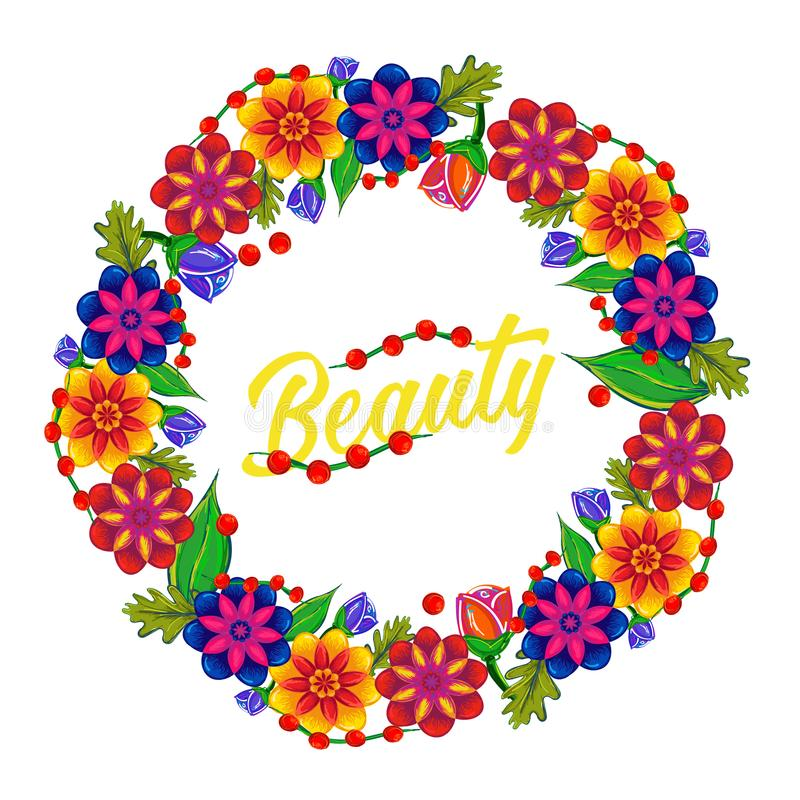 Wreath of Flowers. Beauty. White Background stock illustration
