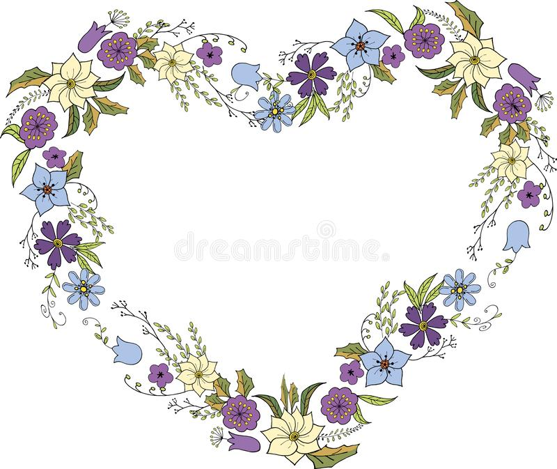 Wreath of flowers in Doodle style in the form of a heart. Flower frame in vector on white background stock photography
