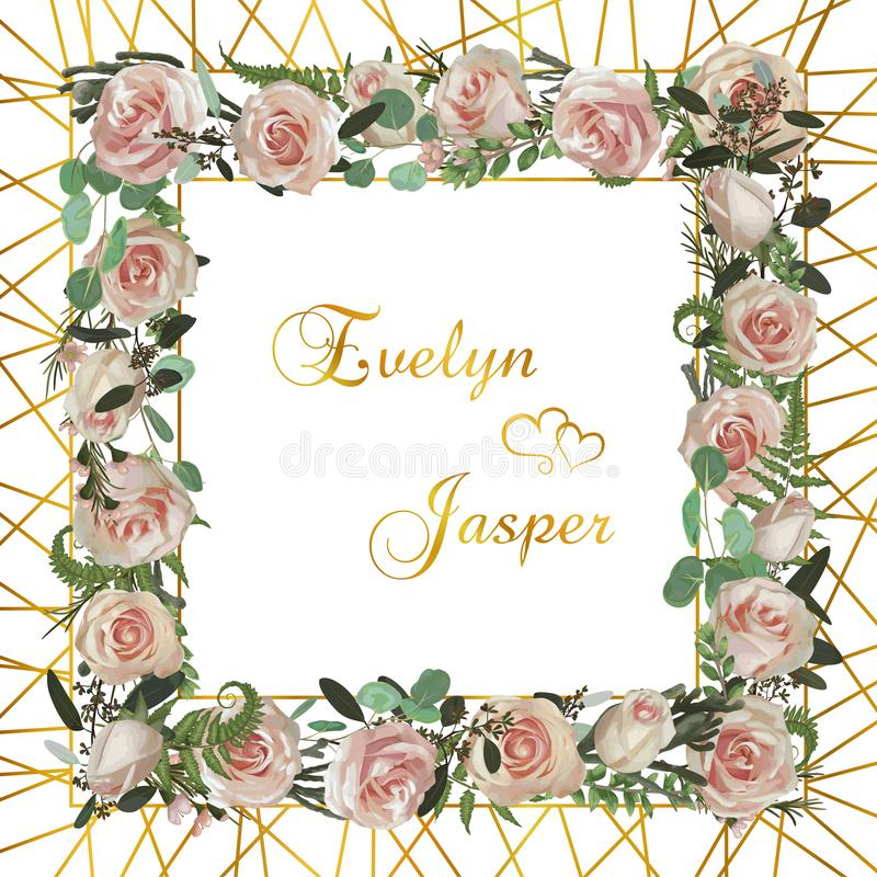 Wreath with flowers and leaves golden stripes mesh on background. Botanical illustration. Boxwood, eucalyptus, brunia, forest fern. And pink rose. Invitations stock illustration