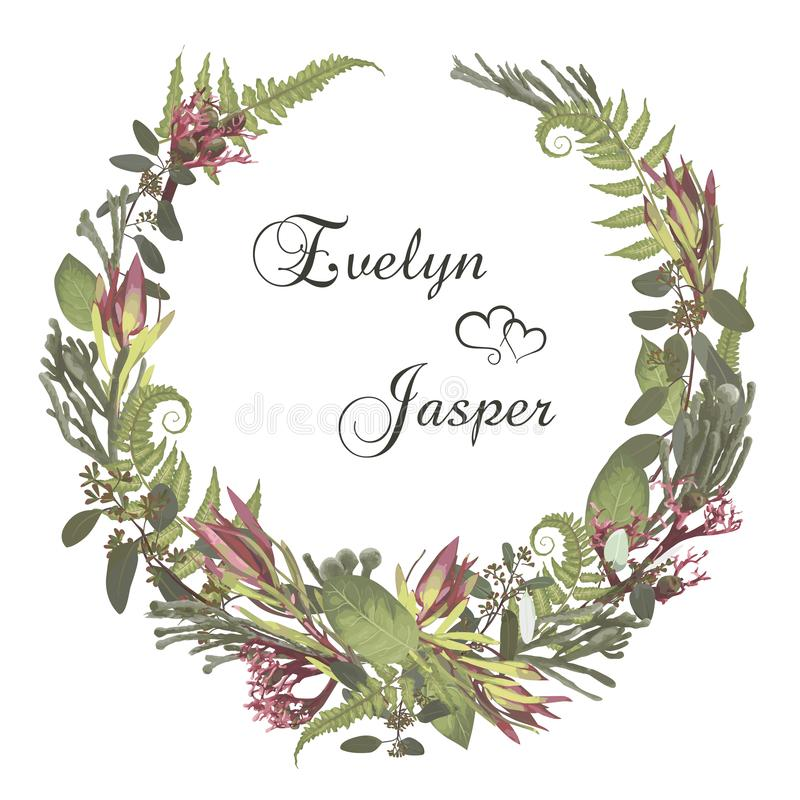 Wreath with flowers and leaves isolated on white background. Branches, brunia, eucalyptus, leucadendron, gaultheria, salal,. Jatropha. Invitations, round cards vector illustration