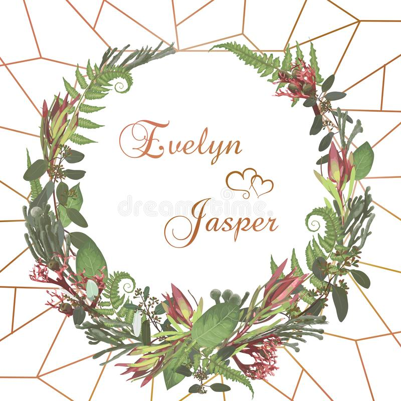 Wreath with flowers and leaves isolated on white background. Branches, brunia, eucalyptus, leucadendron, gaultheria, salal,. Jatropha. Invitations, round cards royalty free illustration