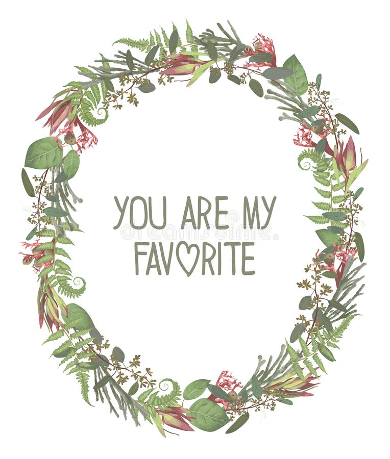 Wreath with flowers and leaves isolated on white background. Branches, brunia, eucalyptus, leucadendron, gaultheria, salal,. Jatropha. Invitations, oval cards vector illustration