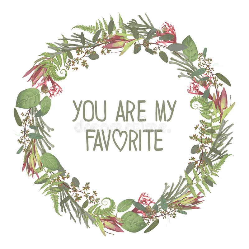 Wreath with flowers and leaves isolated on white background. Branches, brunia, eucalyptus, leucadendron, gaultheria, salal,. Jatropha. Invitations, round cards stock illustration