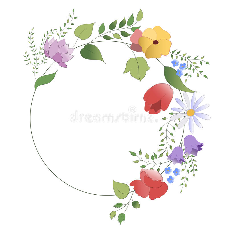Wreath of flowers and leaves stock photos
