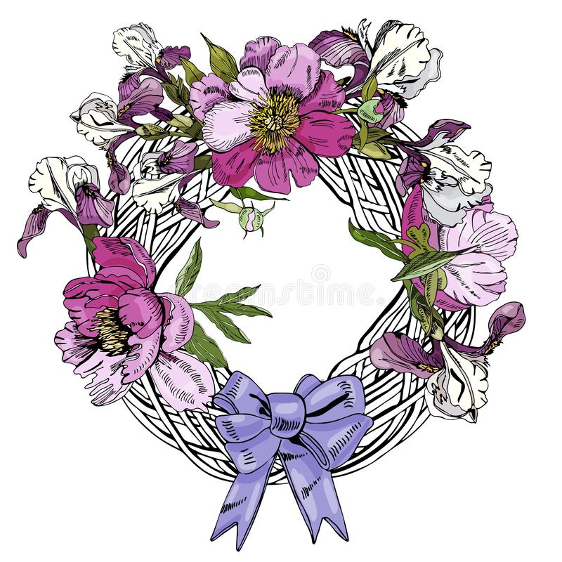 Wreath  with  flowers of peony, iris and bow. Hand drawn ink sketch. Color objects isolated on white  background.  vector illustration