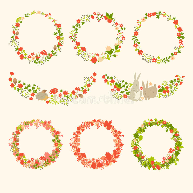 Wreath with forest vector elements, botanical, flowers and animals. Cute animals on magic forest vector template. Round wreath silhouette. Berries, mushrooms royalty free illustration