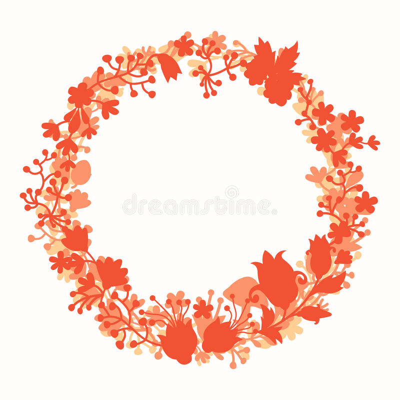 Wreath with forest vector elements, botanical and flowers. Magic forest vector template. Round wreath silhouette. Berries and leaf. Hand-drawn style, flat vector illustration