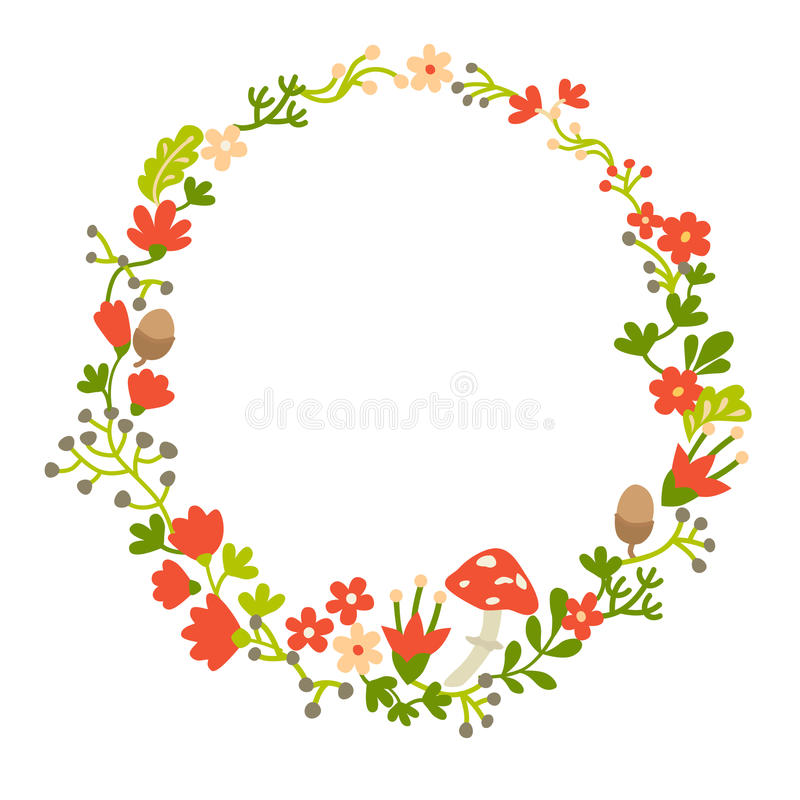 Wreath with forest vector elements, botanical and flowers. Magic forest vector template. Round wreath silhouette. Berries, mushrooms and leaf. Hand-drawn style royalty free illustration