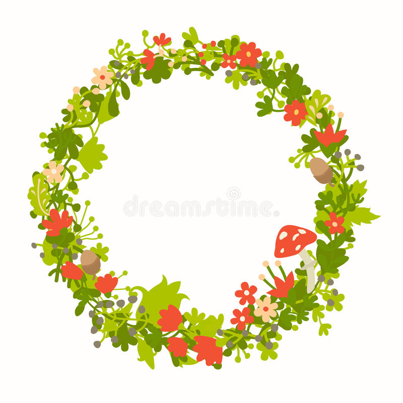 Wreath with forest vector elements, botanical and flowers. Magic forest vector template. Round wreath silhouette. Berries, mushrooms and leaf. Hand-drawn style stock illustration
