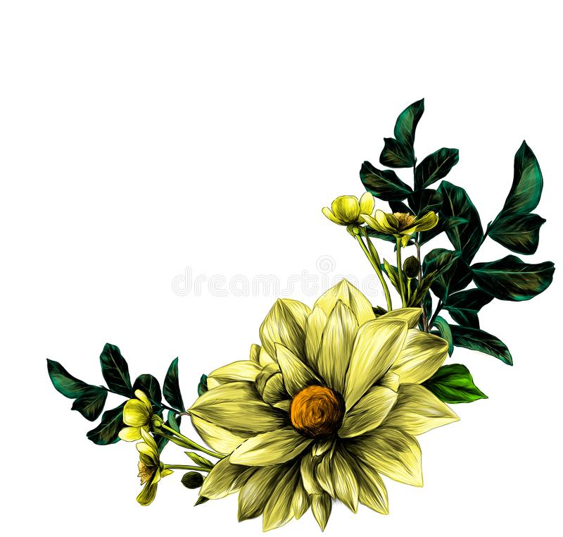 Wreath in the form of a bouquet of flower Dahlia twigs with leaves and flowers buttercups vector illustration