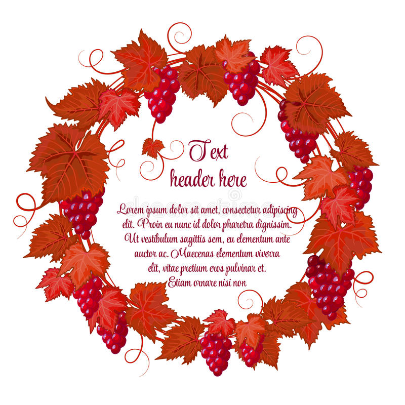 Wreath of grapes and grape leaves hand drawing on white background. Red grapes with bright reg brown autumn leaves vector illustration