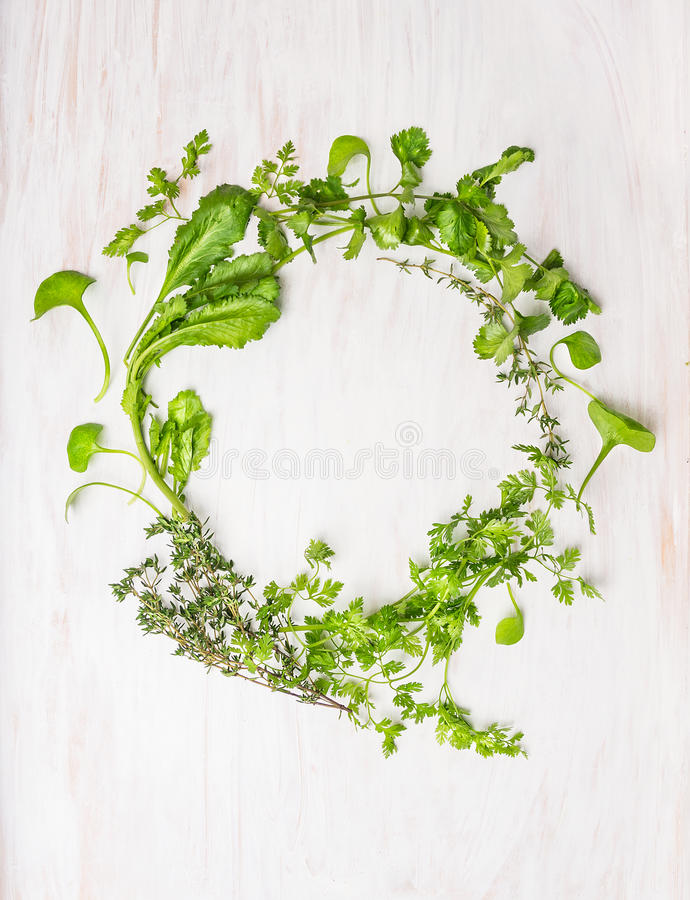 Wreath of green herbs on white wooden. Wreath of green herbs: thyme, coriander, parsley, mustard, marjoram , oregano, chervil ,savory on white wooden background royalty free stock photos