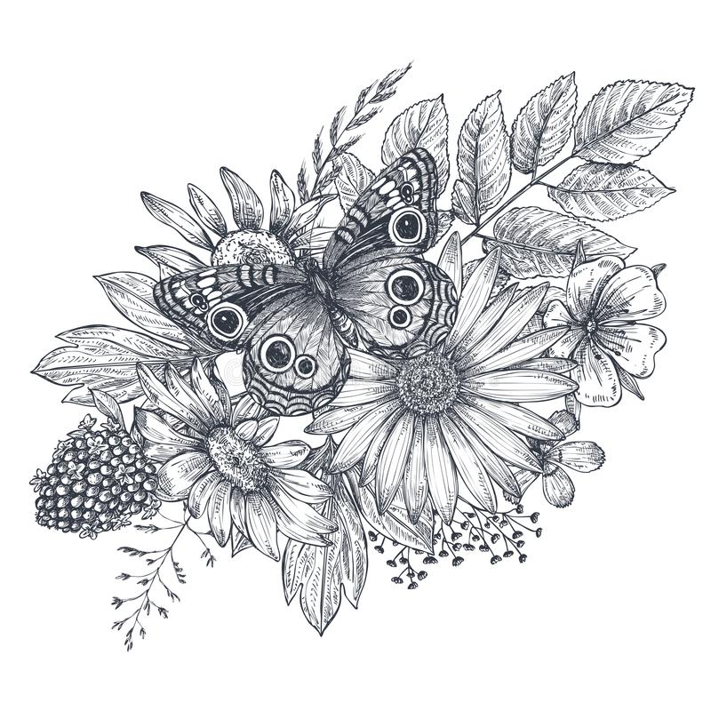 Wreath with hand drawn flowers, leaves and butterfly stock illustration