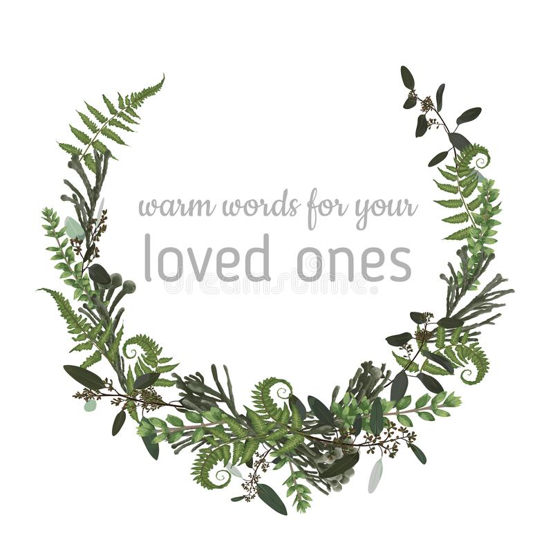 Wreath with herbs and leaves isolated on white background. Botanical illustration. Boxwood, eucalyptus, brunia, forest fern. Save. The date, invitations, cards royalty free illustration