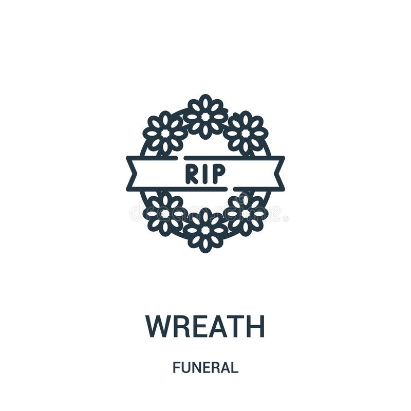 wreath icon vector from funeral collection. Thin line wreath outline icon vector illustration. Linear symbol for use on web and vector illustration
