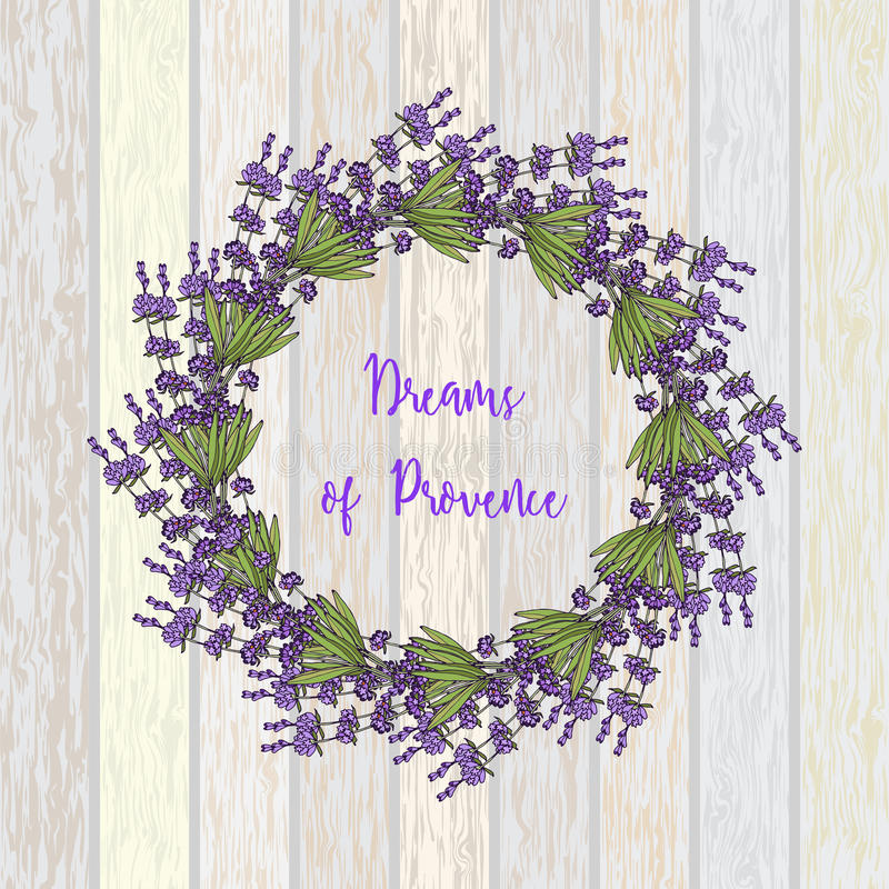 Wreath of lavender. Hand drawn vector illustration stock illustration