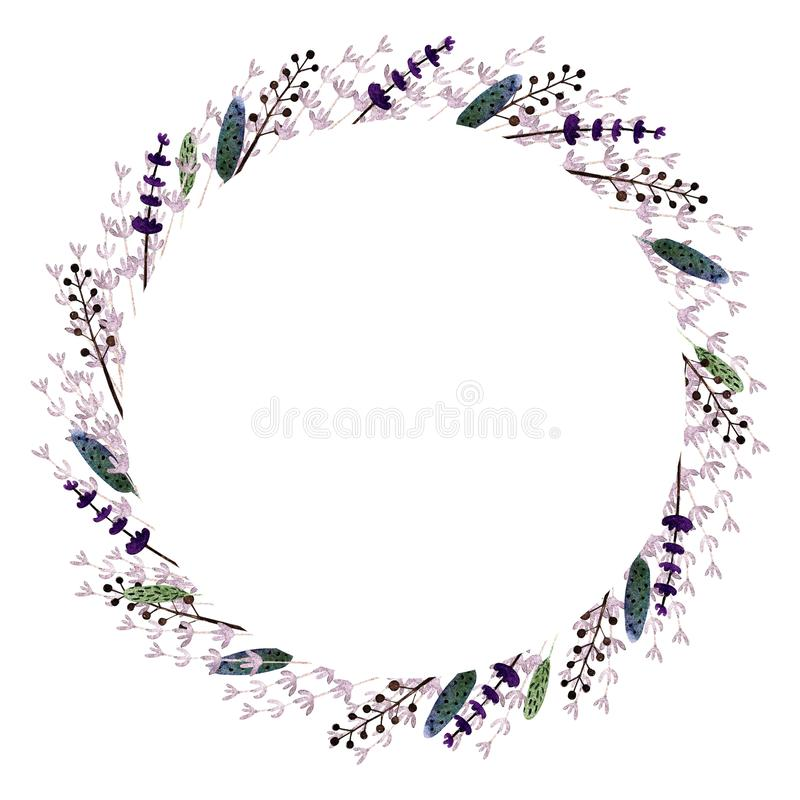 Wreath with lavender, leaves, herbs, . Watercolor Illustration on white background. Wreath with lavender, leaves, herbs. Watercolor Illustration vector illustration