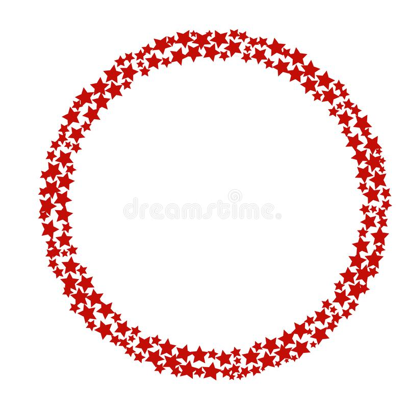 Wreath made of red stars. Vector illustration. For festive design, announcements, postcards, posters vector illustration