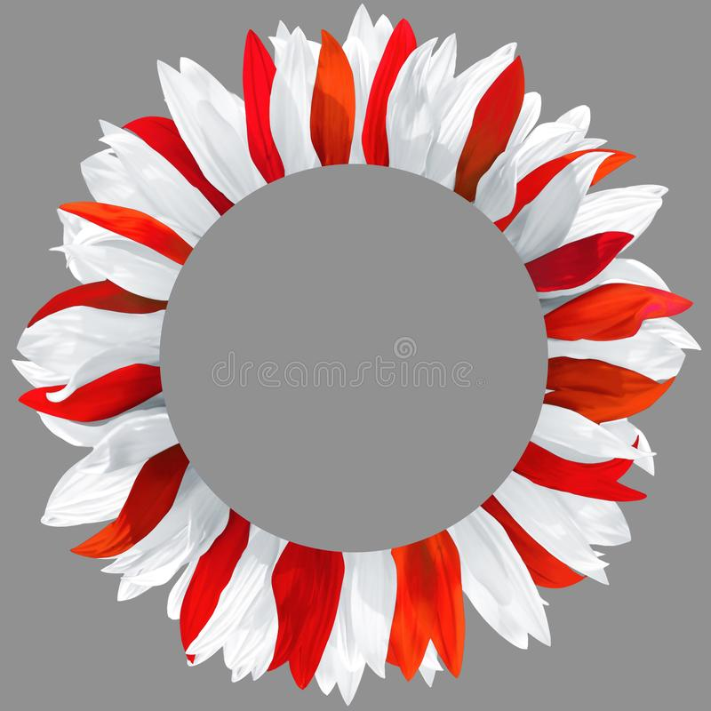 Wreath made of white and red petals stock image