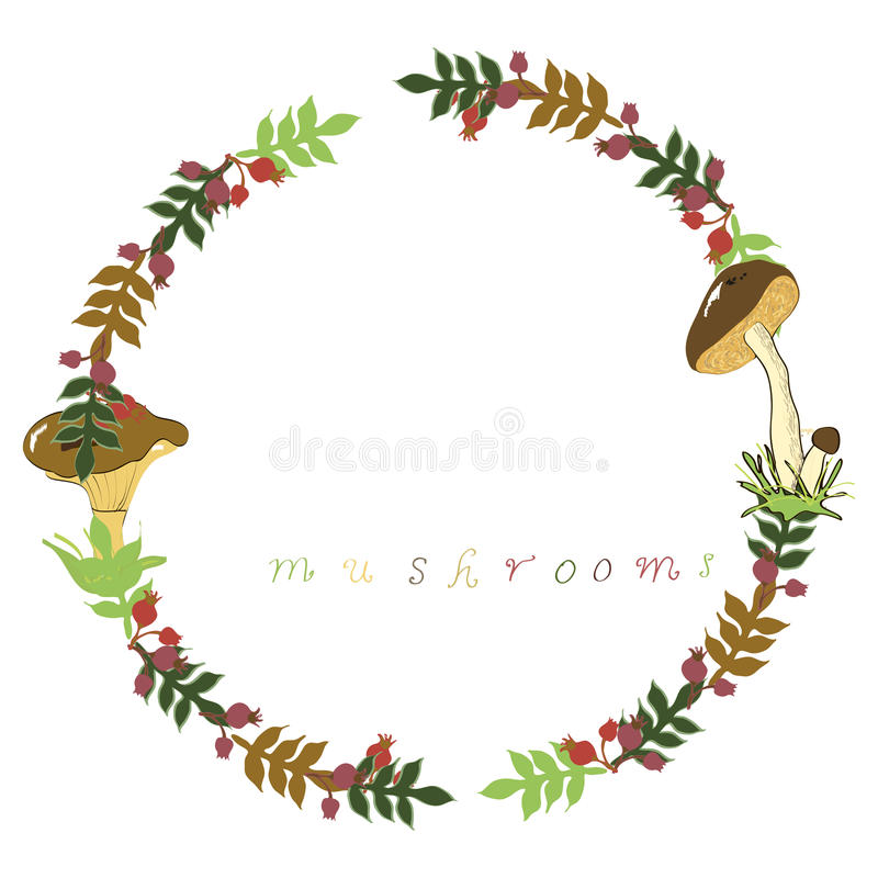Wreath mushrooms stock photo