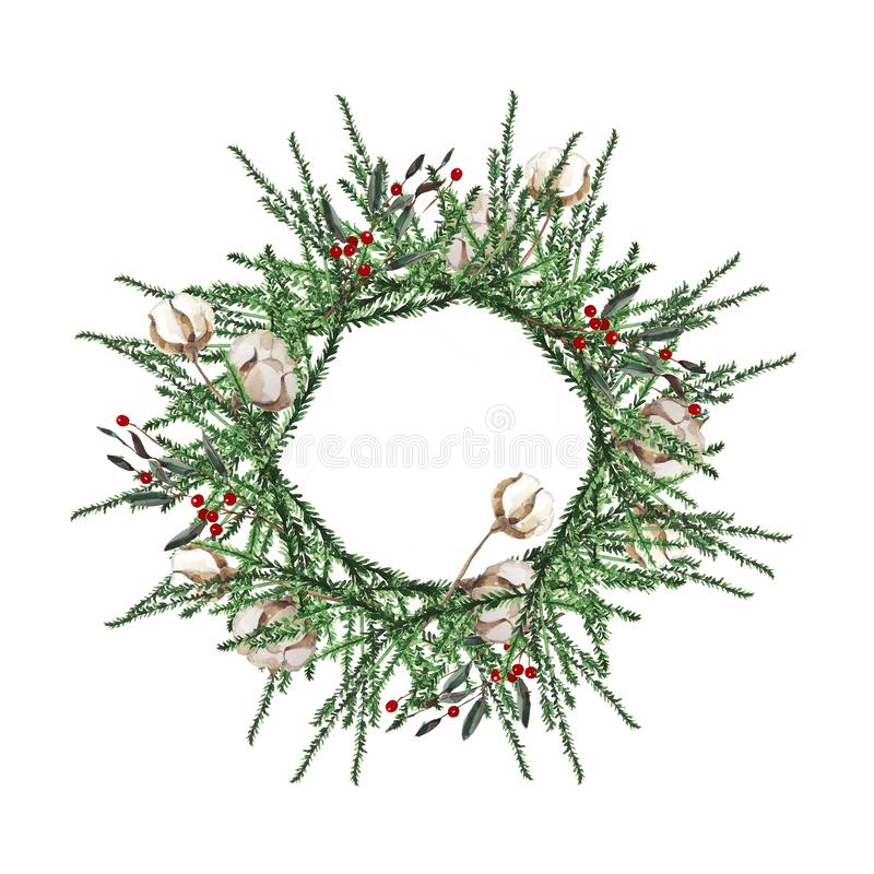 Wreath with pine branches and red berries, cotton and pine cones. Round frame for Christmas cards and winter design illustration. Wreath with pine branches and vector illustration
