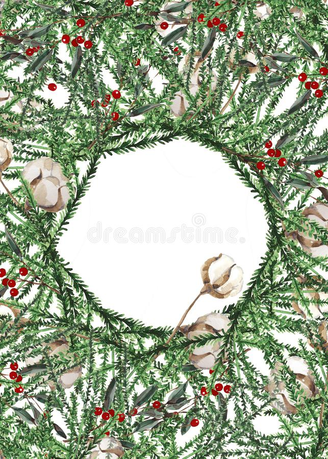 Wreath with pine branches and red berries, cotton and pine cones. Round frame for Christmas cards and winter design illustration. royalty free stock image