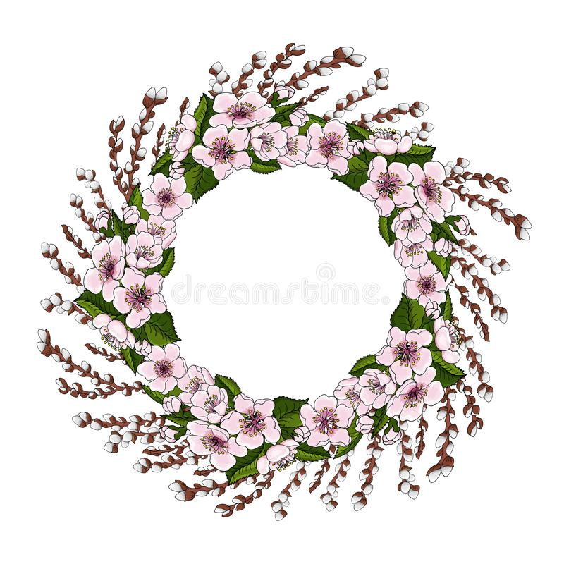 A wreath of pink cherry blossoms and bright green leaves along with young willow branches on a white background. Natural round fra royalty free illustration
