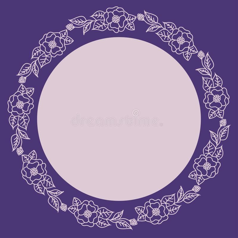 Wreath of pink flowers on a purple background. Round frame for the label. vector illustration