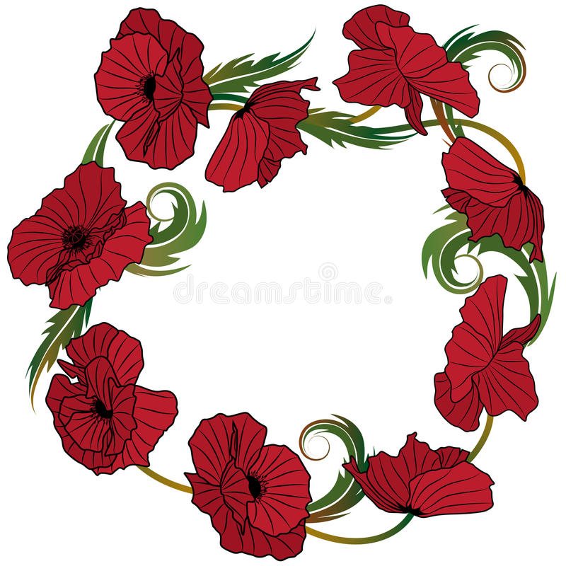 Wreath of poppies vector illustration