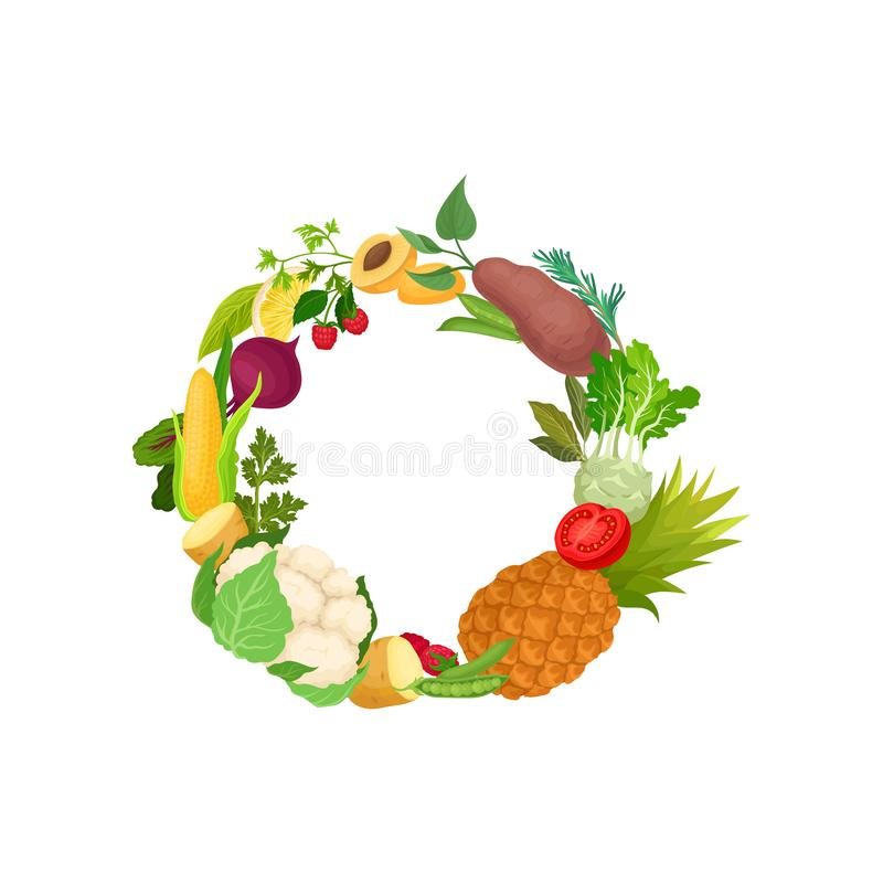 Wreath of different vegetables and fruits. Vector illustration on white background. stock illustration