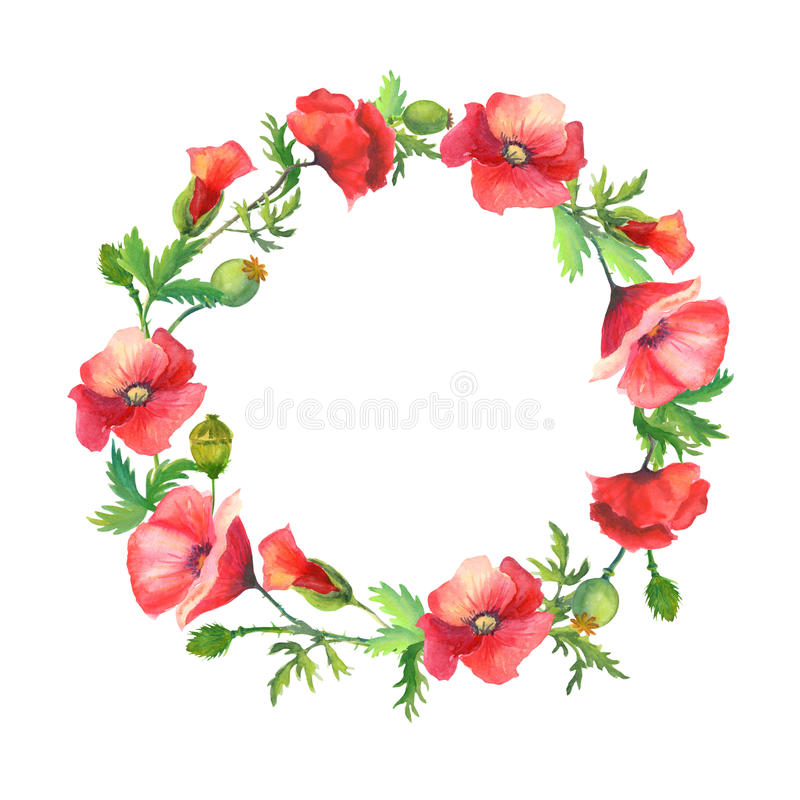 Wreath of red poppies royalty free illustration