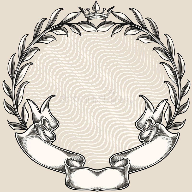 Wreath with ribbon stock illustration