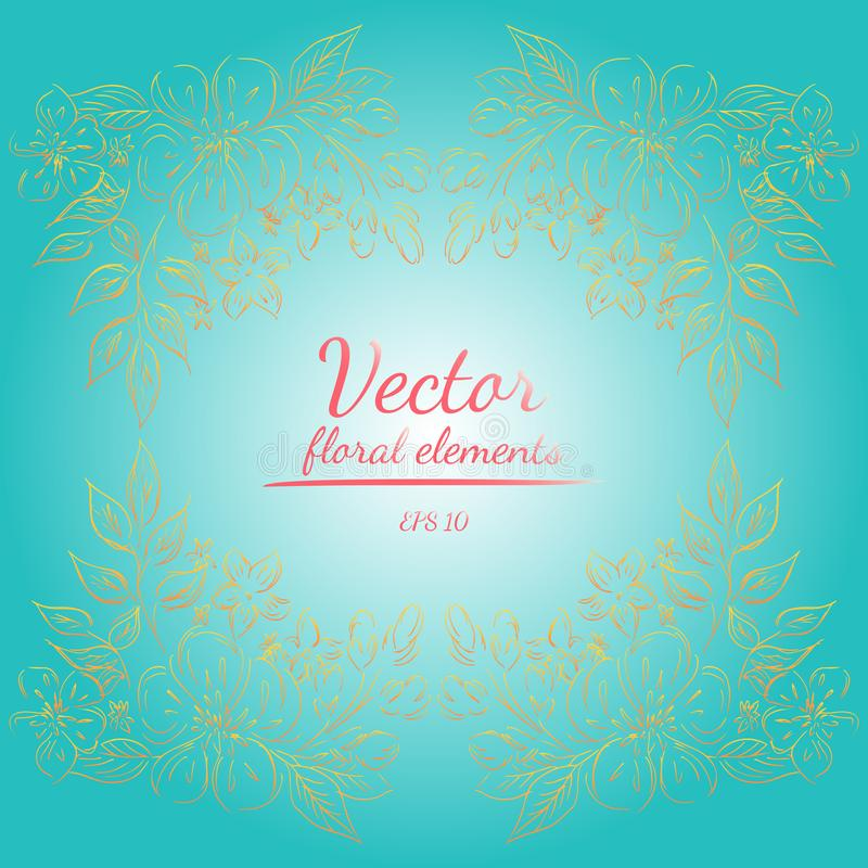 Wreath of roses or peonies flowers and branches with light sea green, sunshade, living coral, orange, yellow and white colors. royalty free illustration