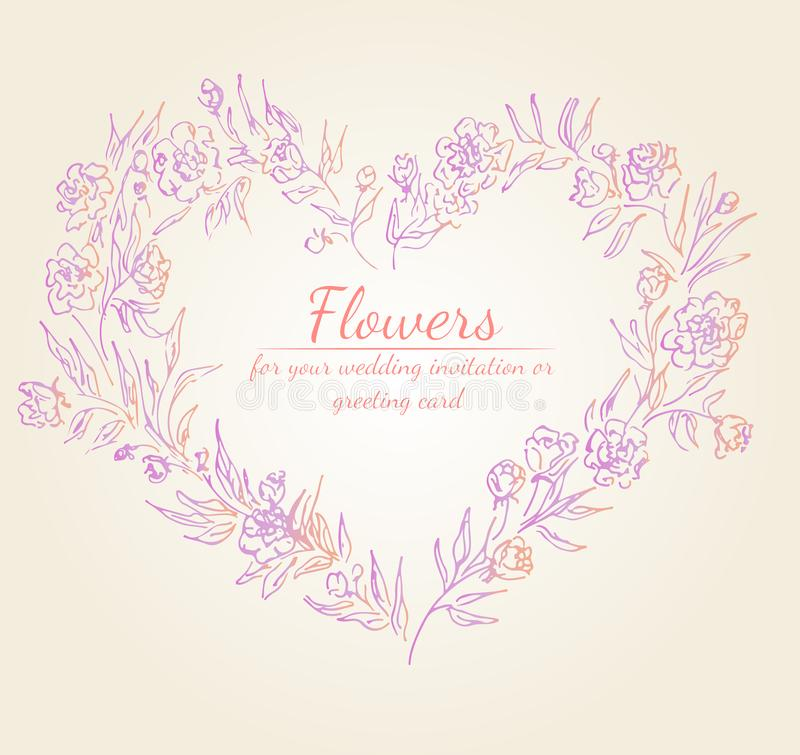 Wreath of roses or peonies flowers branches with pink, purple and coral colors. Floral frame design elements for wedding vector illustration