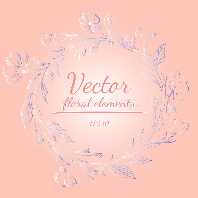 Wreath of roses or peonies flowers and branches with your pink, living coral, moody blue and white gradient colors. floral frame. Design elements for royalty free illustration