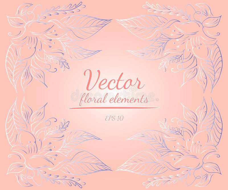 Wreath of roses or peonies flowers and branches with your pink, living coral, moody blue and white gradient colors. Floral frame design elements for vector illustration