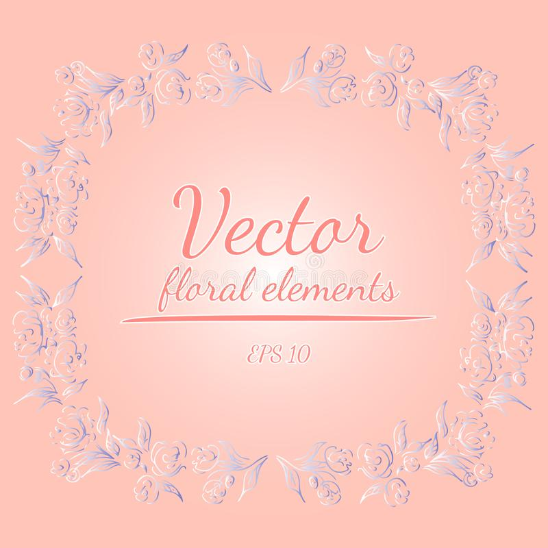 Wreath of roses or peonies flowers and branches with your pink, living coral, moody blue and white gradient colors. floral frame. Design elements for vector illustration