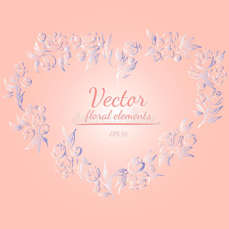 Wreath of roses or peonies flowers with your pink, living coral, moody blue and white gradient colors. Floral frame design. Elements for invitations and stock illustration
