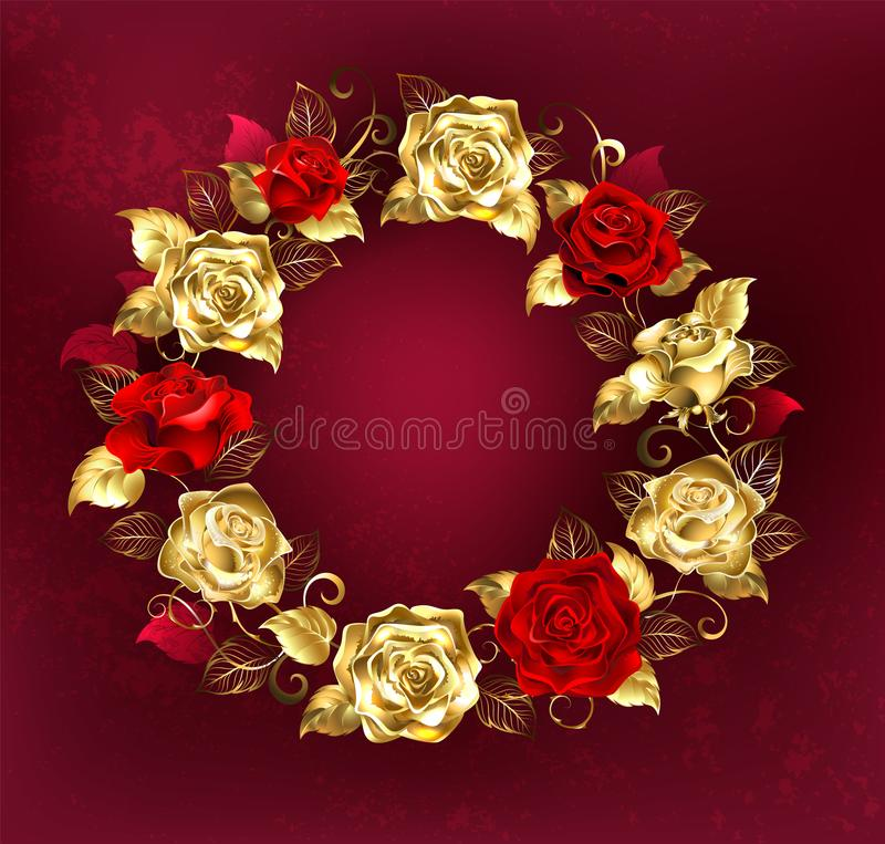 Wreath of roses on red background. Round wreath of red and gold roses with gold leaves on a red textured background. Design with roses. Gold Rose vector illustration