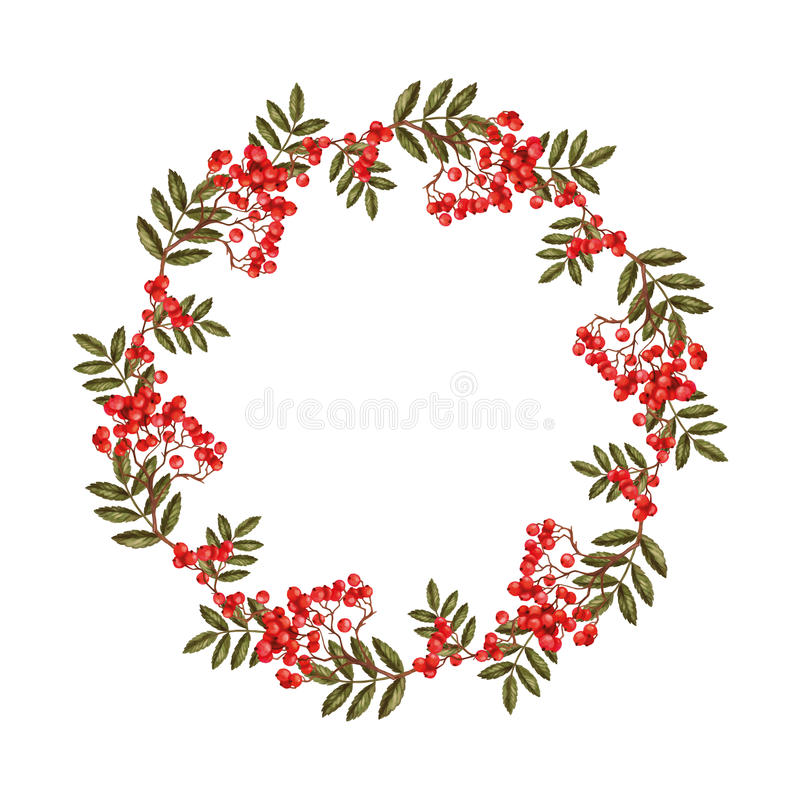 Wreath of rowan branches background royalty free illustration