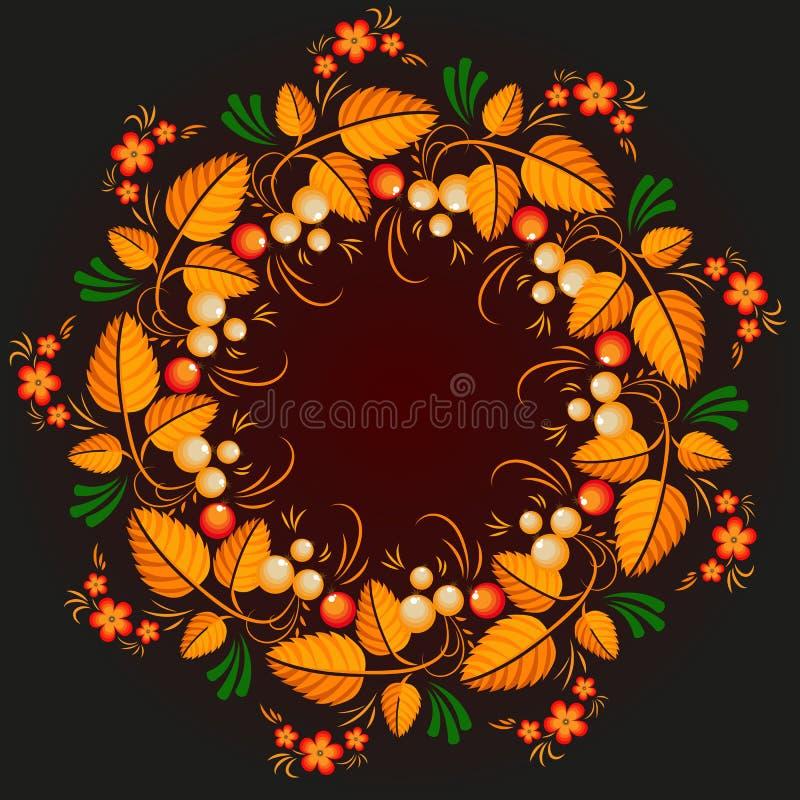 Wreath russian style khokhloma stock illustration