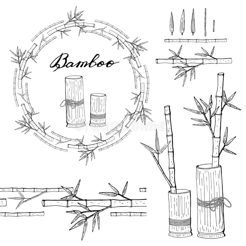 Wreath and seamless brush from bamboo royalty free illustration