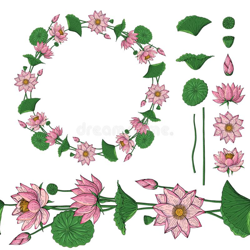 Wreath and seamless brush from lotus flower, botanical design elements stock illustration