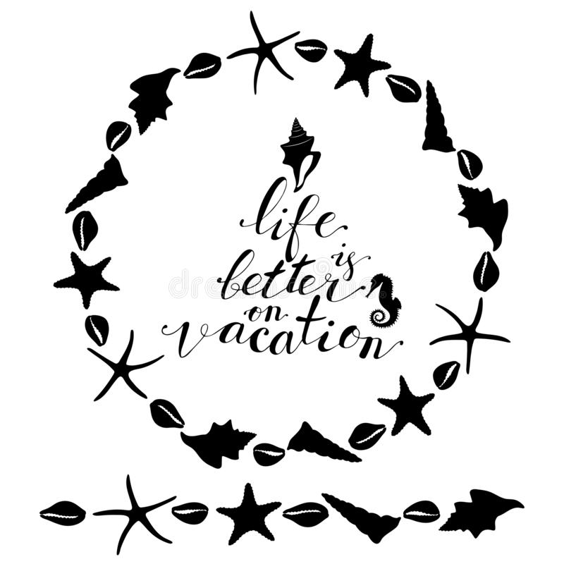 Wreath and seamless brush from sea star, sea horse, conch shell. Round decoration border, marine design elements, hand lettering life is better on vacation vector illustration