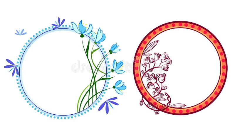 Wreath set with flowers, herbs, bluebell, snowdrop, tree branches. Vector graphic illustration. Wreath set with flowers, herbs, bluebell, snowdrop, tree vector illustration
