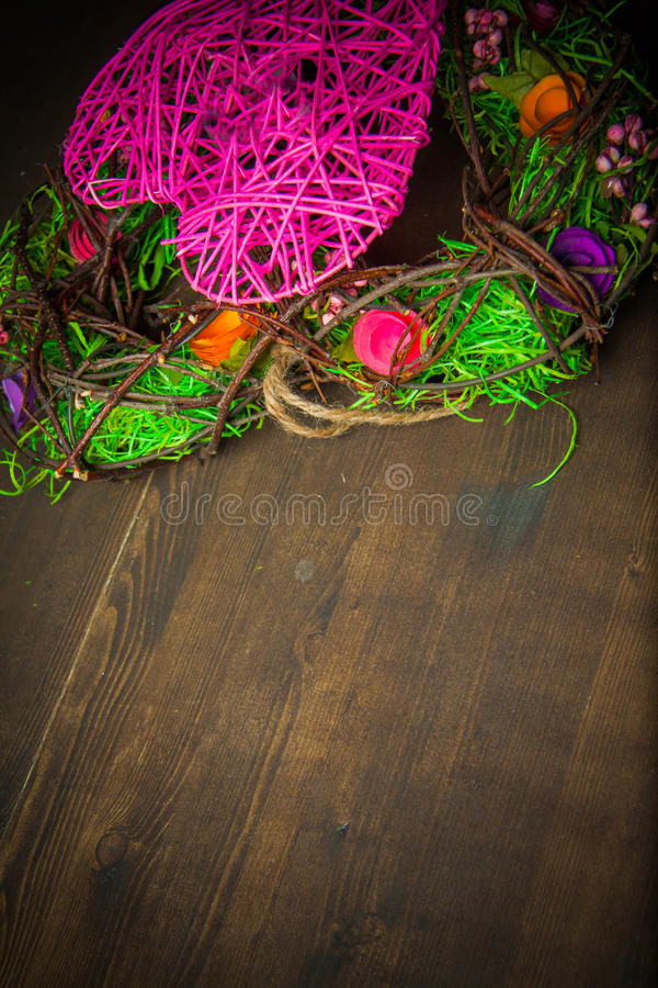 Wreath in a shape of heart made from grass stock photography