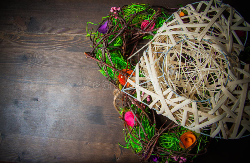 Wreath in a shape of heart made from grass royalty free stock photos