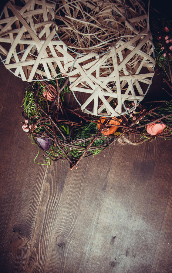 Wreath in a shape of heart made from grass royalty free stock image